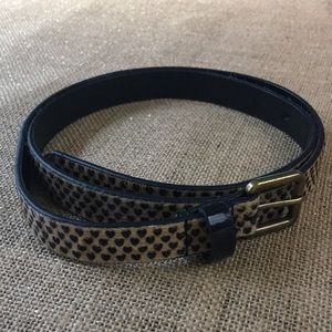 Calf hair belt in heart print in size M